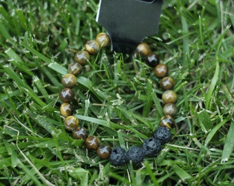 Tigers eye and black lava beads