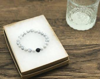 Howlite Bracelet, Howlite Bead Bracelet, Howlite Stone Bracelet, Howlite Beads, Lava Diffuser Bracelet, Lava Bead Bracelet, Lava and Howlite