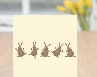 Hairline - Cute and Quirky Funny Bunnies Blank Card (Easter/Spring/Any Occasion)