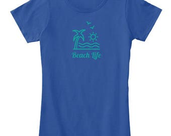 Beach Life Palm Blue Tee