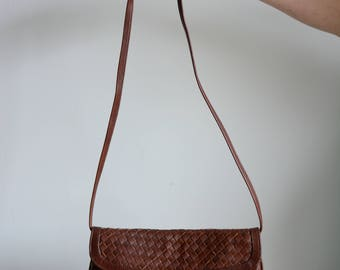 Chocolate brown woven leather shoulder bag / clutch