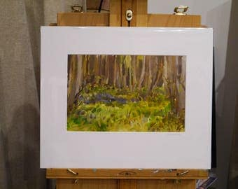 Original Oil Plein Air Painting, Mounted, Surrey Woodland 30x42cm