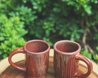 Copper Red Rose Drip Mugs / Coffee & Tea / Drinkware // Wheel-Thrown Ceramic Mug