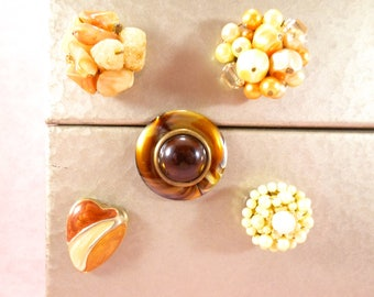 Upcycled vintage jewelry magnets - orange, yellow, and brown