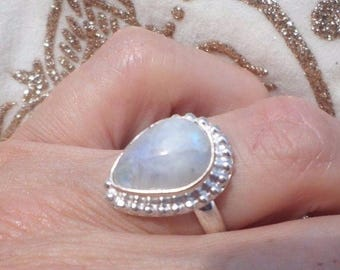 RING 925 sterling silver and Moonstone (BA89)