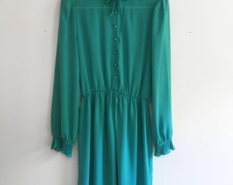 80s Teal Ruffle Collar and Sleeve Sheer Dress