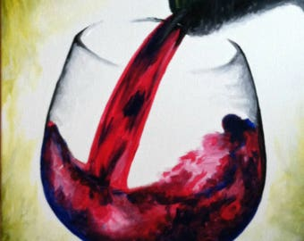 Red Wine Acrylic Canvas Painting