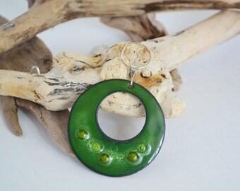 Green Enamel Pendant Necklace