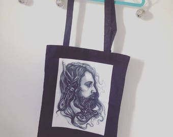 Tote bag with original artwork print