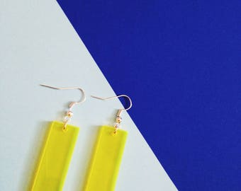 Yellow acrylic drop laser cut glowing rectangle laser cut perspex bold statment earrings