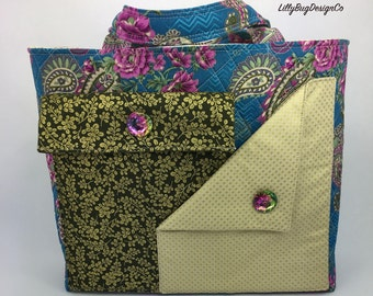 Handmade Handbag//Tote//Turquoise