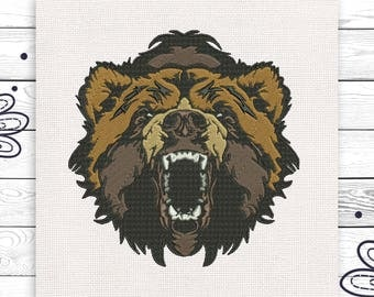 Bear embroider Angry bear embroidery Machine embroidery 3 sizes Jacket embroidery INSTANT DOWNLOAD EE5156