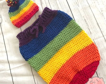 Rainbow Baby Infant Newborn Baby Outfit Beanie Hat Pom Pom Cocoon Sack Bundle Colorful Crochet Photography Photo Prop