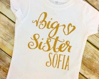 Big Sister With Name Gold Glitter Shirt, Big Sister Shirt Name, Big Sister Shirt, Sisters Shirts
