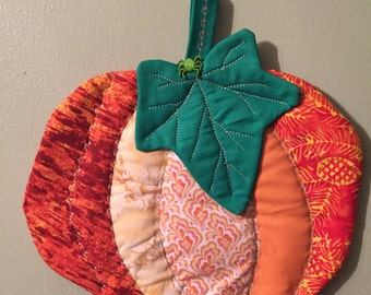 Pumpkin Pot Holder, Hot Pad, Handmade, One of a kind, Whimsical, Great gifts for Showers, Birthdays, Hostess and House warmings.