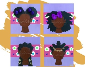Kinks and Curls (Natural Hair Afro Art 4 Pc Set)