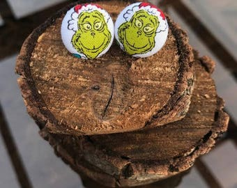 The Grinch Button Earrings