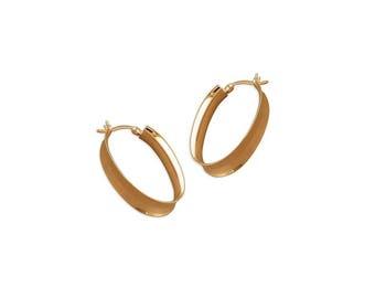 Oval Vee Creole Hoop Sterling Silver Earrings