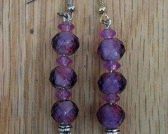 Purple beaded dangled earrings