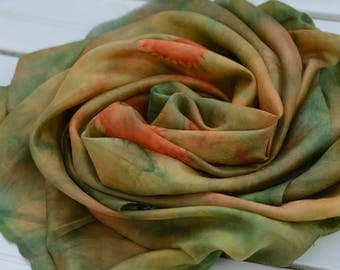 Shibori lilac turquoise Design Silk Scarf Hand Painted. Excelsior natural Silk Scarf (90 x 90 cm)