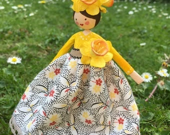 Hand made papier maché  flower fairy doll