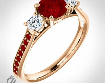 18K Rose Gold Three Stone Ruby & Diamond Engagement Ring Diamond Ring Wedding Ring Bridal Ring