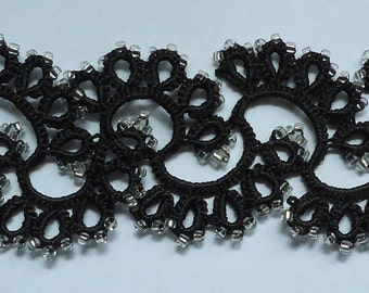 "Hand-Tatted Adjustable Beaded Bracelet ""Plait"" and Carabiner Clasp – Romantic, Bridal, Vintage, Retro, Wedding"