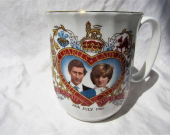 Vintage Prince Charles and Lady Diana Commemorative Royal Wedding Coffee Mug