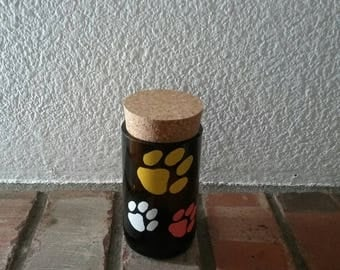 Dog lover kicthen decor, Dog treat jar, Dog lovers gift with painted paws, small dog treat container, Recycled beer bottle art