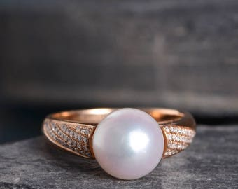 Pearl Ring Vintage Engagement Ring Rose Gold Diamond Pave Solitaire Half Eternity Women Retro Antique Anniversary Promise Birthstone Akoya