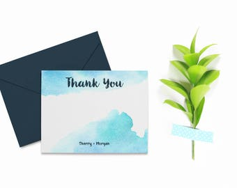 Watercolor Thank You Cards Wedding, Personalized Thank You Cards Printable, Wedding Thank You Card Template, Wedding Thank You Template