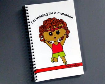 Curly Girl Runner's Log Spiral Bound Notebook Running Diary Running Journal Blank Marathon Training Log by theworldirun