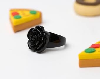 Totally Rad 90's Plastic Black Flower Ring - GGGV# 6