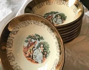 Set of Nine Vintage Sabin Crest-O-Gold Warranted 22 K Fruit/Dessert Bowls