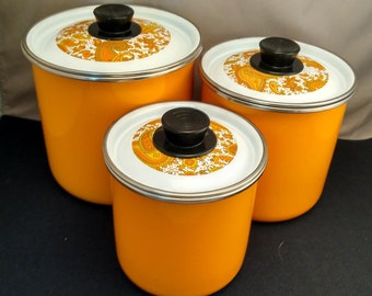 1970s Bright Orange Paisley Enamel on Steel Nesting Three Piece Canister Set