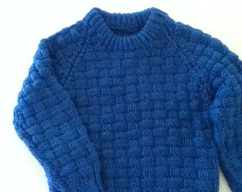 Bright blue pullover sweater for average 18 month old
