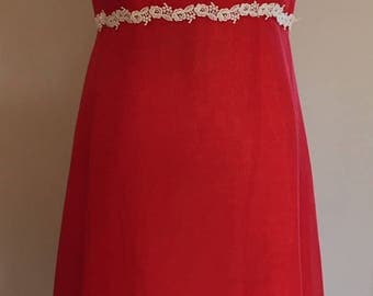 1970s Chinese Red Voile Dress with Heavy Lace Trim