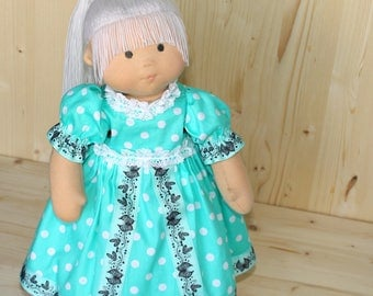 Rag Doll Waldorf Doll Textile doll Soft Body Doll Nature Toy Doll Role Play doll With Long Blond Hair doll in mint dress Polka Dot Eco doll