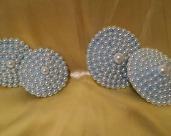 Baby Blue Bride Pearl Nipple Pasties, set of 2