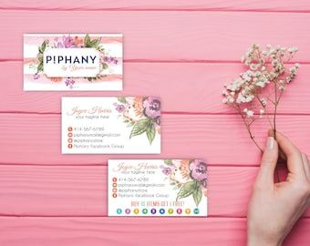 Piphany Business Card, Custom P!phany Business Card, Personalized Consultant Piphany Marketing Kit, Water color card, Printable Card TP02