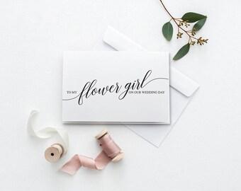 To My Flower Girl Card   Printable Wedding Card   On Our Wedding Day Card   DIY To My Flower Girl Card   Printable Thank You Card