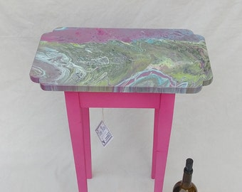 Pink Pleasure, boho, bohemian, accent table, side table, painted, wood, eclectic, whimsical, funky