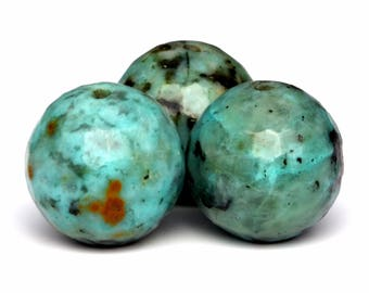 36 / 18 Pcs - 10MM African Turquoise Beads Grade AAA Micro Faceted Round Genuine Natural Gemstone Loose Beads (100808)