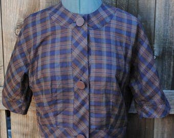 Vintage 1950s Nelly Don plaid button down shirt top