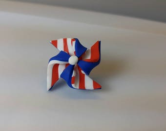 Red White and Blue Pinwheel Brooch