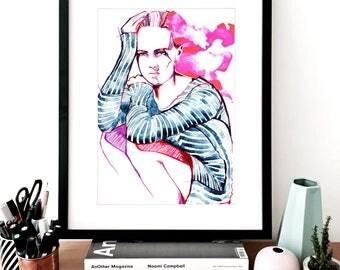 Anna Stripe A3 Fashion Illustration Print, Fashion Sketch, Fashion Art, Fashion Wall Art, Fashion Drawing, Fashion Poster Fashion Watercolor
