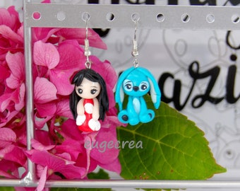 Lilo and stitch with polymer clay kawaii earrings