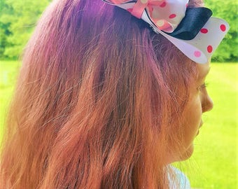 Pink Polka Dotted and Black Layered Hair Bow