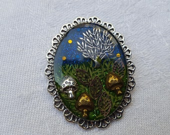 Resin brooch which include, the picking mushrooms