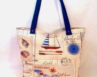 Nautical print and beige suede tote bag